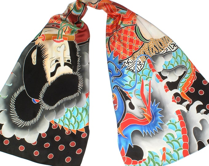 Silk scarf with Japanese Samurai and Dragon