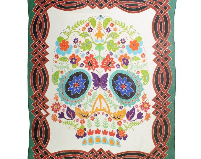 Hand painted silk scarf with Day of the Dead flower skul