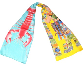 Mayan warrior and Lobster unique hand painted silk scarf