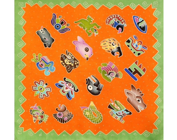 Aztec day symbols, colorful hand painted silk scarf