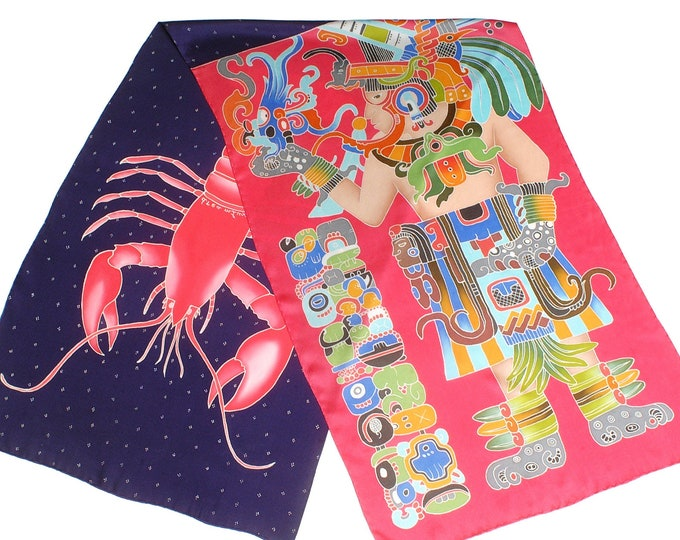 Silk scarf with mayan warrior and lobster