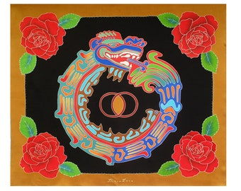 Aztec silk scarf with Quetzalcoatl and Roses