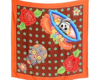 Day of the Dead Catrina skull with flowers and dots Batik hand painted silk scarf