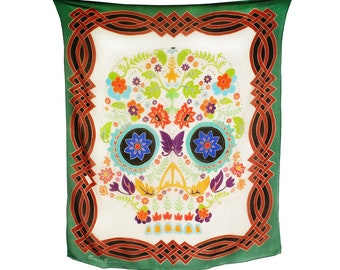 Day of the Dead flower skull hand painted silk scarf with intricate boarder