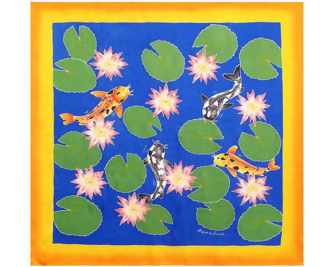 Silk scarf handpainted with colorful Koi fish and lotus flowers. Silk neck scarf, square scarf, Hand made scarf, Gift for her, gift for wife