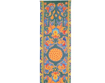 Hand painted silk scarf with Traditional Seville tile