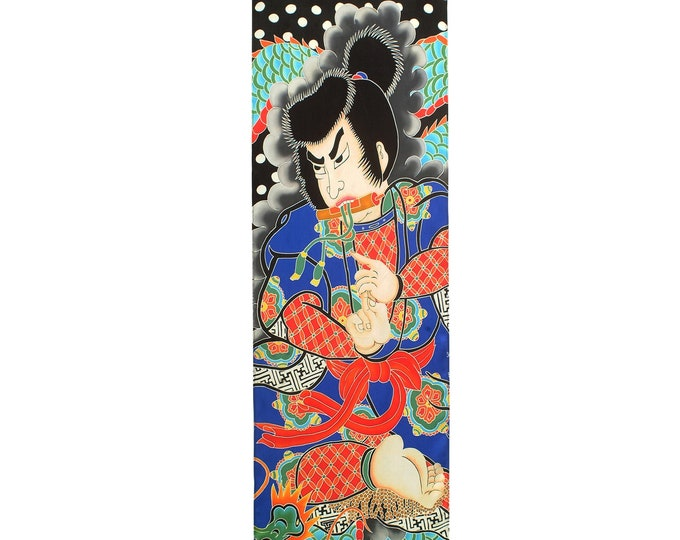 Featured listing image: Japanese Samurai with Snake Dragon Hand painted silk scarf