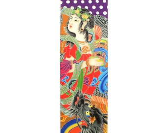 Japanese Geisha with Dragon Hand painted silk scarf