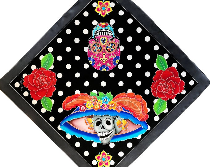 Hand painted silk scarf with Day of the Dead skulls, roses and dots