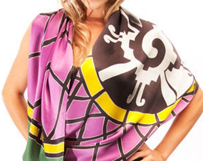 Silk scarf with Mayan Hunab Ku mandala