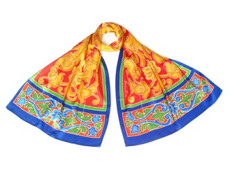Batik hand painted silk scarf with colorful Seville tile design