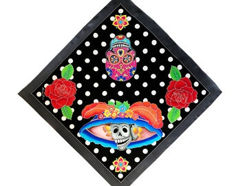 Day of the Dead, skulls, roses and dots hand painted square silk scarf