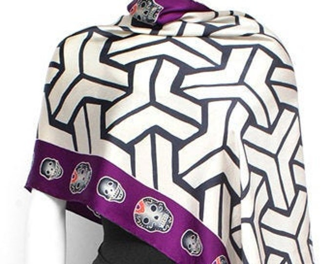 Hand painted silk scarf with illusion pattern and skulls