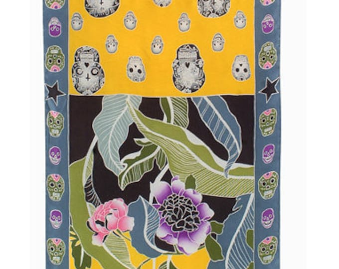 Luxury hand painted silk scarf with flowers and Day of the Dead skulls