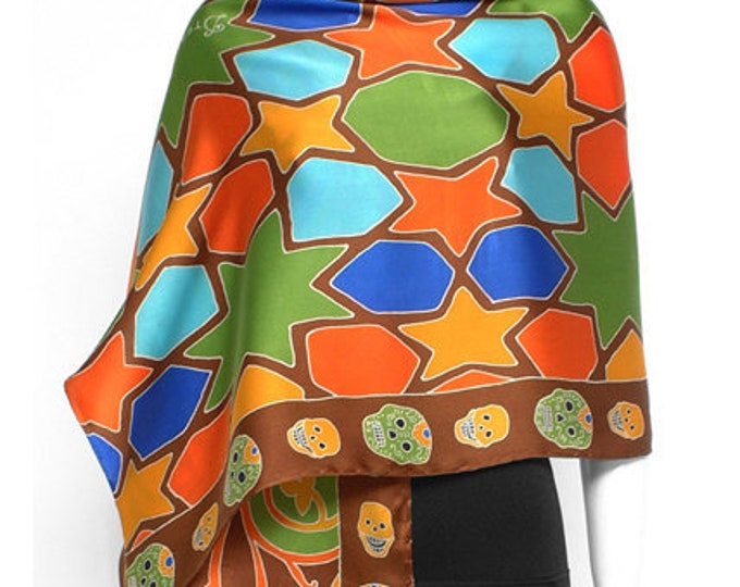 Hand painted silk scarf with colorful tile pattern and skull border