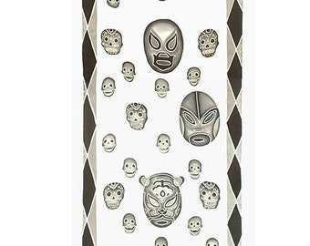 Cool fashion silk scarf with Mexican wrestling masks and skulls