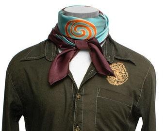 Mens batik hand painted silk scarf with Tribal Dayak design