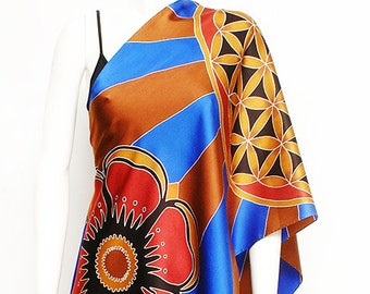 Flower of life sacred geometry mandala hand painted silk scarves