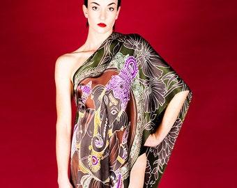 Ganesha and flowers batik hand painted Luxury fashion silk scarf.
