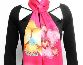 Batik silk scarf with colorful orchids flowers and pink background