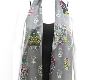 Mexican wrestling masks and skulls hand painted scarf. Exclusive silk scarf Lucha libra Gray scarf Gift for him Gift for her Ready to ship