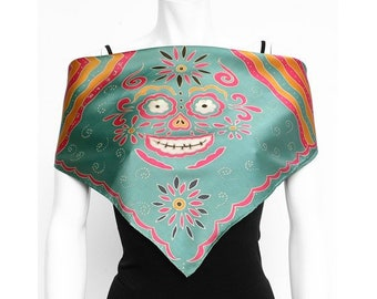 Hand painted silk scarf with Day of the Dead, Dia de Los Muertos skull design