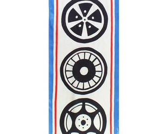 Wheels and racing stripes handmade one of a kind silk scarf