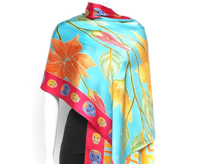 Floral silk scarf, Sugar skulls, Hand painted, women's large scarf, women's accessories, gifts for her, turquoise scarf, elegant silk scarf