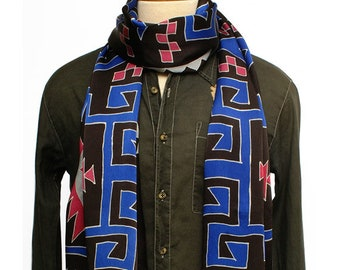 Mens tribal design pattern hand painted luxury fashion scarf