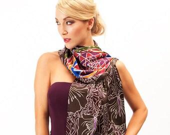 Sri Yantra mandala silk scarf with a flower pattern