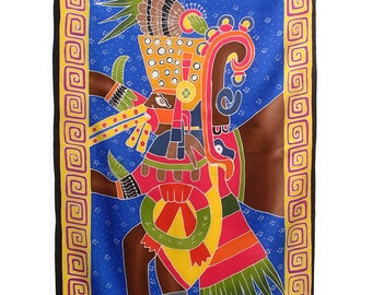 Hand painted silk scarf with Aztec Warrior.