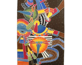 Colorful tribal Aztec hand painted silk scarf