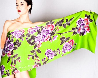 Floral hand painted silk scarf with a lime green background