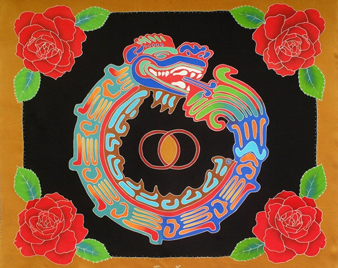 Featured listing image: Aztec silk scarf with Quetzalcoatl and Roses