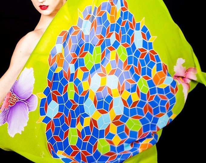 Mandala hand painted silk scarf with orchid flowers