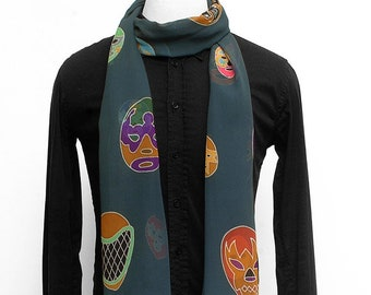 Hand painted mens silk scarf with Mexican wrestler masks