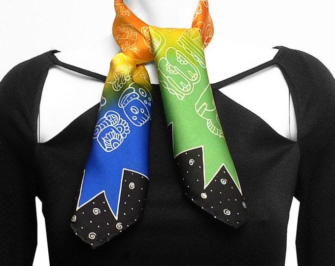 Colorful Mayan glyphs Square Batik handmade silk scarf