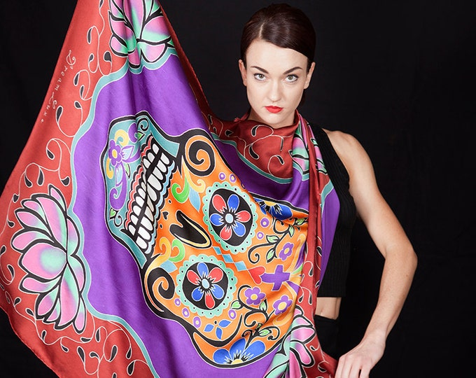 Featured listing image: Day of the dead skull hand painted silk scarf with Lotus flowers