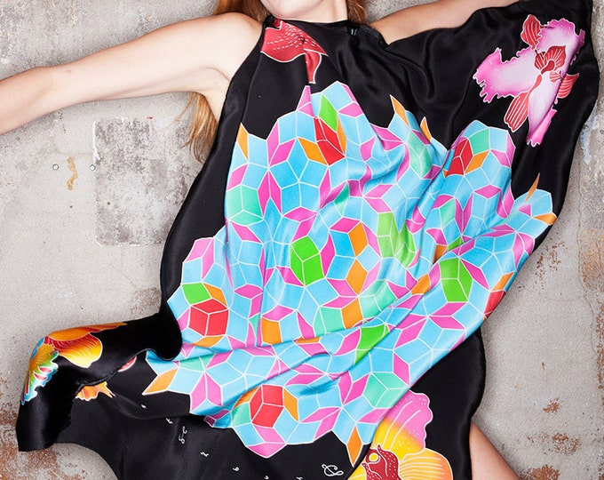 Hand painted silk scarf with mandala and orchids