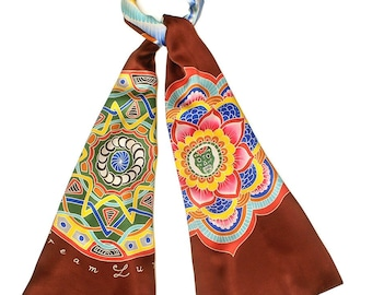 Silk scarf with Unique mandalas and sacred Egyptian winged scarab