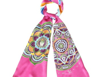 Hand painted silk scarf with Mandalas and Egyptian winged scarab