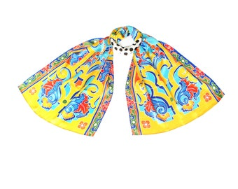 Hand painted silk scarf with Spanish tile pattern