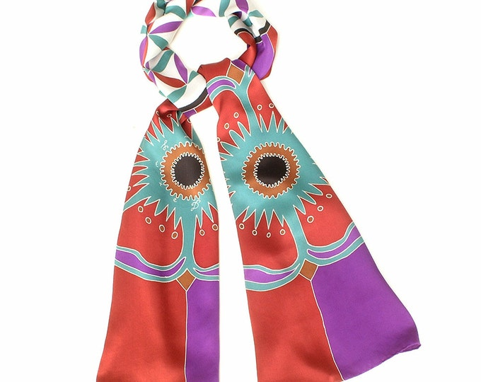 Silk scarf hand painted with Flower of life and Mandala flowers