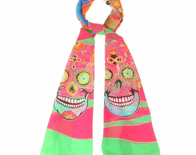 Silk scarf with Catrina and two day of the dead skull.