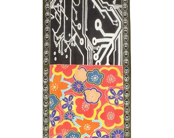 Batik silk scarf with Japanese flowers and printed circuit board design.