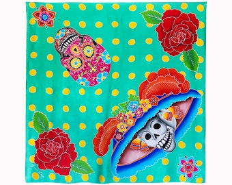 Authentic batik hand painted silk scarf with Day of the Dead skulls, roses, and dots