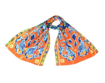 Batik hand painted silk scarf with Seville Spain tile pattern