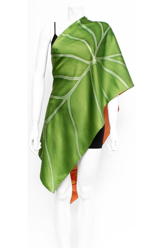Dolphin and Leaf hand painted silk scarf. Wearable art fashion