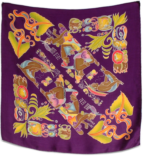 Unique square tribal Mayan image hand painted silk scarf