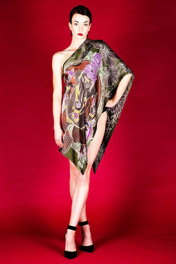 Ganesha and flowers batik hand painted Luxury fashion silk scarf